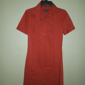 Red Polo Button Front Long Shirt Dress w/ Belt